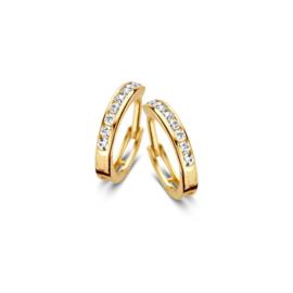 Excellent Jewelry Slanke Geelgouden Zirkonia Creolen voor Dames