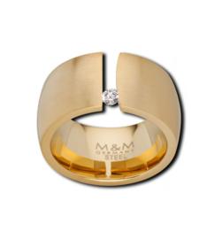 Brede Goudkleurige Ring met Kleurloze Zirkonia van M&M