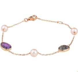 Roségouden Armband met Edelstenen en Zoetwaterparels
