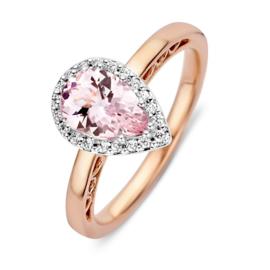 Excellent Jewelry Roségouden Ring met Druppelvormige Morganiet