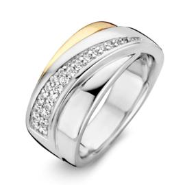 Excellent Jewelry Brede Zilveren Ring met Geelgoud en Zirkonia Strook