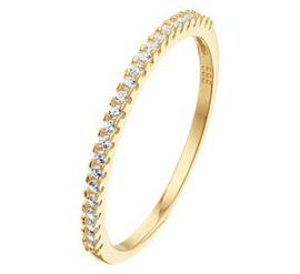 Gouden Ring met Meerdere Kleurloze Zirkonia's