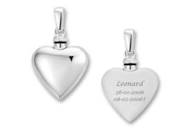Zilveren Hartvormige Ashanger met Tekst - Names4ever