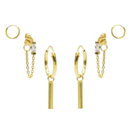 Karma Jewelry – Zesdelige Sunny Square Earparty Set - Gold