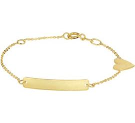 Gouden Graveer Armband Hart Plaat 4 mm 11 - 13 cm