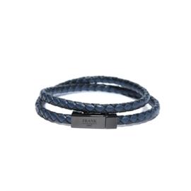 Zwart met Blauw Lederen Wikkelarmband van Frank 1967