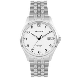 Prisma Klassiek Zilverkleurig Heren Horloge met Witte Wijzerplaat
