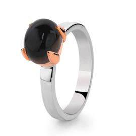 Excellent Jewelry Zilveren Ring met Roségoud en Zwarte Rookkwarts