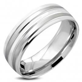 Mat en Gepolijste Ring van Edelstaal - Graveer Ring