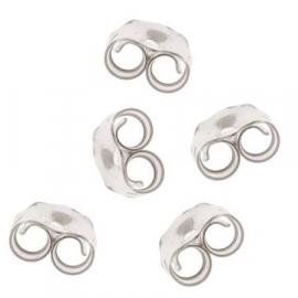 Zilveren oorknop achterkantjes / sluitingen