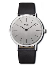 Zilverkleurig M&M Horloge voor Dames met Lederen Horlogeband