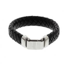 Gevlochten Heren Armband van Zwart Leer