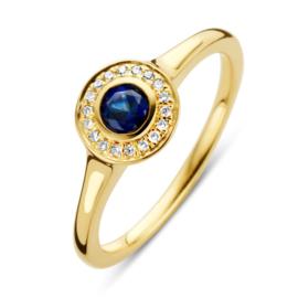 Excellent Jewelry Geelgouden Ring met Rondje met Diamanten en Saffier