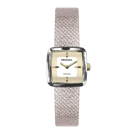 Prisma Dolce Square Dames Horloge – Bicolor