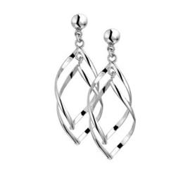Dubbele Hanger Oorhangers van Gerhodineerd Zilver