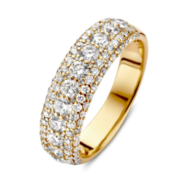Excellent Jewelry Brede Gouden Diamant Ring voor Dames