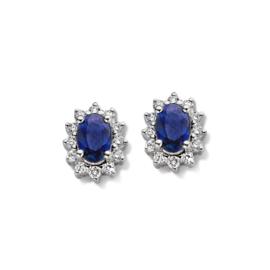 Excellent Jewelry Witgouden Oorstekers met Saffier en Diamanten