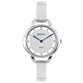Klassiek Edelstalen Zilverkleurig Dames Horloge met Parelmoer