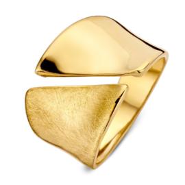 Excellent Jewelry Brede Holle Geelgouden Ring met Opengewerkte Lijn