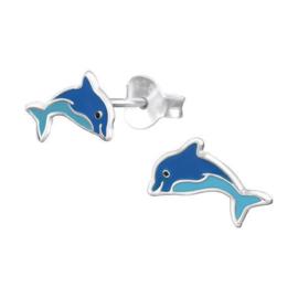 Blauwe Dolfijn Kinderoorbellen van Zilver
