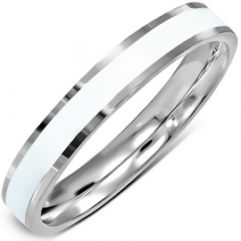 Zilverkleurige ring met wit emaille - Graveer Ring SKU82165
