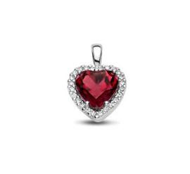 Witgouden Hart Hanger + Schitterende rhodoliet en een diamant rij