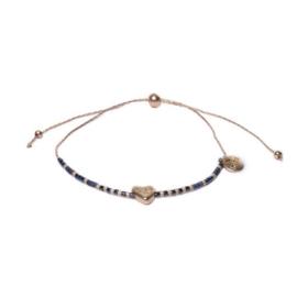 Metalen Goudkleurige Armband met Hartje en Blauwe Decoraties