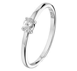 Gerhodineerd Zilveren Ring met Kleurloze Zirkonia