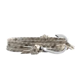 HOOKED Armband van Slangenleer met Edelstalen Haak