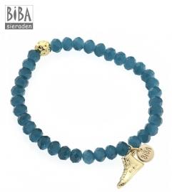 BIBA / Blauw met goudkleurige BIBA armband CG155