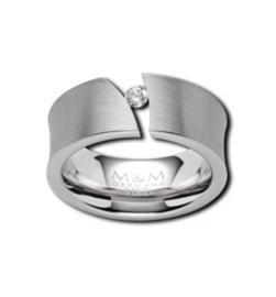 Zilverkleurige Ring met Diagonale Opengewerkte Strook met Zirkonia