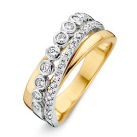 Excellent Jewelry Abstracte Bicolor Ring met 0,47 crt. Diamanten