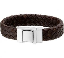 Robuuste Gevlochten Armband van Bruin Leer - Graveer sieraad