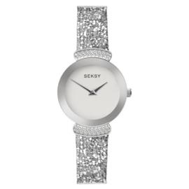 Sekonda Zilverkleurig SEKSY Dames Horloge met Kleurloze Zirkonia's