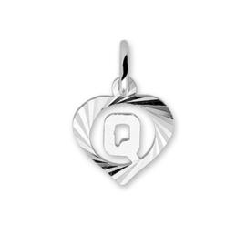 Hartvormige Zilveren Letter Q-Bedel