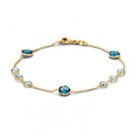 Excellent Jewelry Geelgouden Armband met Topaas / London Blue Topaas