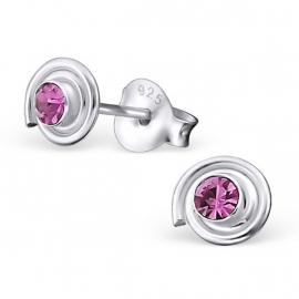 Zilveren Oorbellen met Roze Strass Steentjes