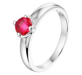 Zilveren Ring met Synthetische Rode Robijn