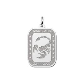 Rechthoekige Schorpioen Sterrenbeeld Hanger van Zilver