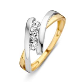 Excellent Jewelry Bicolor Fantasie Ring met Drie Zirkonia's