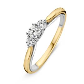 Excellent Jewelry Bolstaande Ring van Geelgoud met 0,31 crt. Briljant