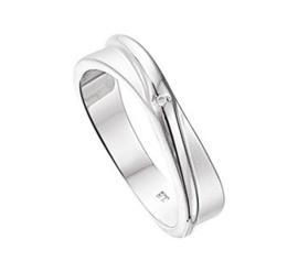 Gepolijst met Matte Zilveren Ring met Rhodium en Diamant