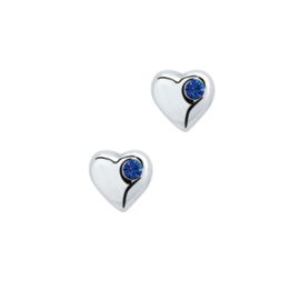 Asymmetrische Blauwe Zirkonia Oorknoppen van Zilver