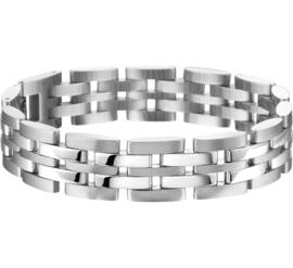 Gepolijste en Gematteerde Edelstalen Schakel Armband