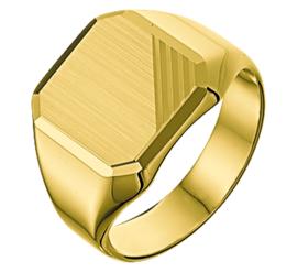Matte Geelgouden Zegelring voor Heren - Graveer Ring