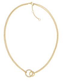 Edelstalen Goudkleurig Collier met Opengewerkte Zirkonia Cirkel
