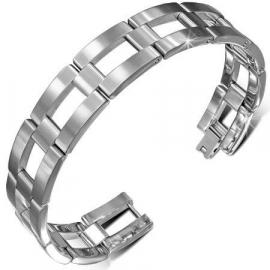 Zilverkleurige Open Rechthoek Armband