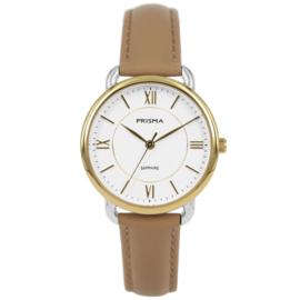 Prisma Goudkleurig Dames Horloge met Beige Lederen Horlogeband