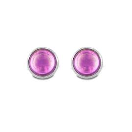 Zilveren Oorstekers met Roze Zirkonia van MY iMenso