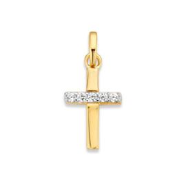 Excellent Jewelry Geelgouden Kruisvormige Hanger met Zirkonia Rij